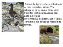 Secondly, hydrosphere pollution is not less important either. The leakage of ...