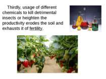 Thirdly, usage of different chemicals to kill detrimental insects or heighten...