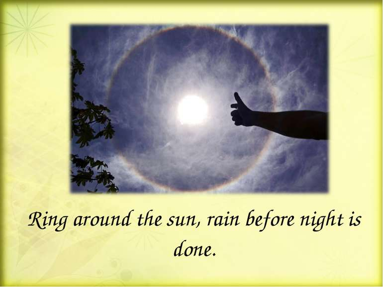 Ring around the sun, rain before night is done.