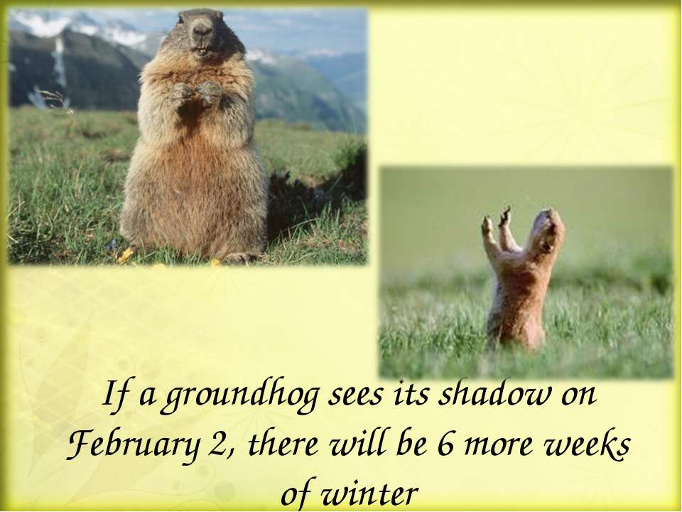 If a groundhog sees its shadow on February 2, there will be 6 more weeks of w...