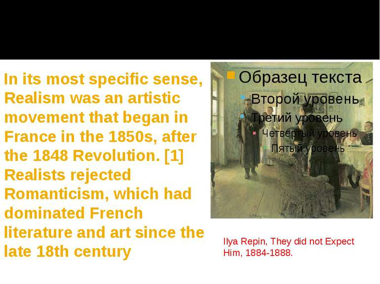 In its most specific sense, Realism was an artistic movement that began in Fr...