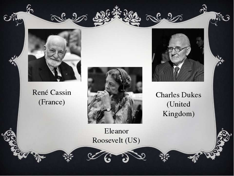 René Cassin (France) Eleanor Roosevelt (US) Charles Dukes (United Kingdom)