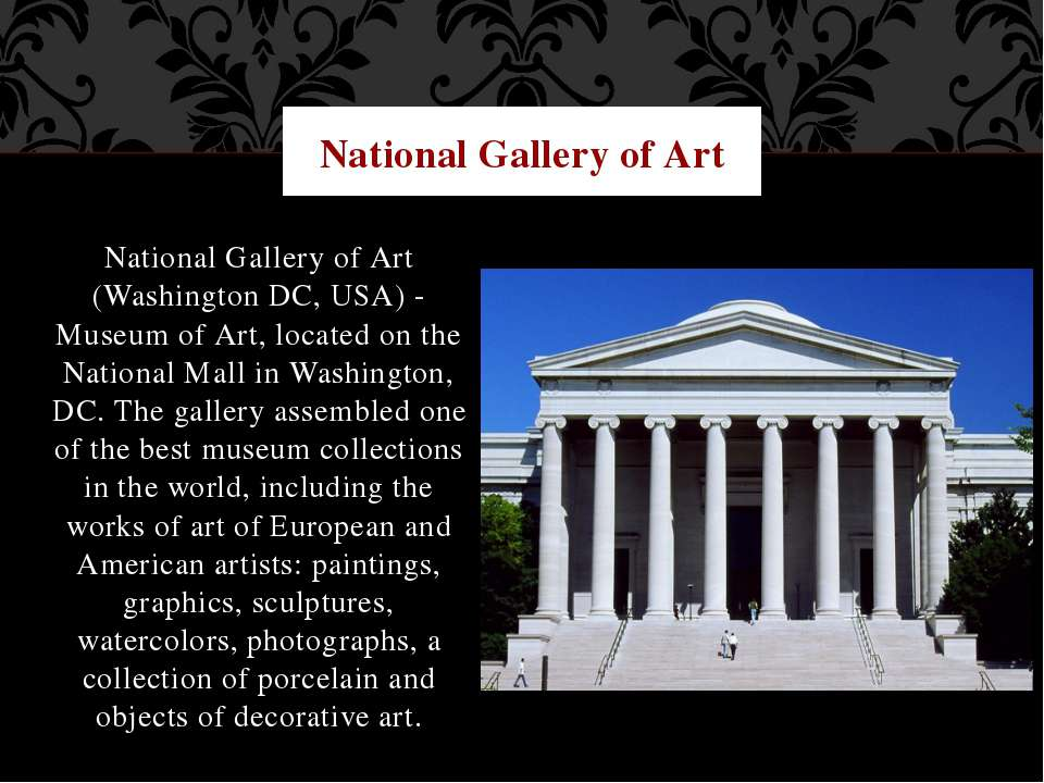 National Gallery of Art (Washington DC, USA) - Museum of Art, located on the ...