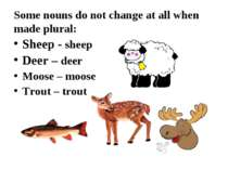 Some nouns do not change at all when made plural: Sheep - sheep Deer – deer M...