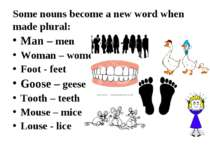 Some nouns become a new word when made plural: Man – men Woman – women Foot -...