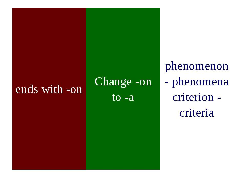 ends with -on Change -on to -a phenomenon - phenomena criterion - criteria