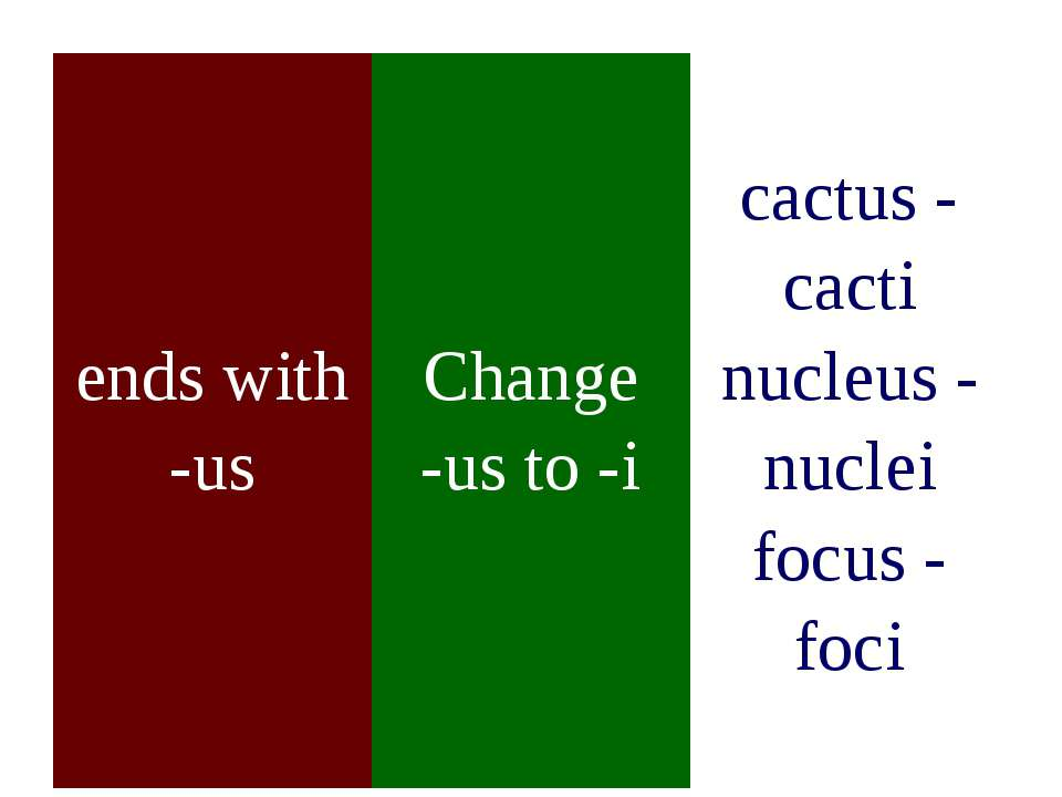 ends with -us Change -us to -i cactus - cacti nucleus - nuclei focus - foci