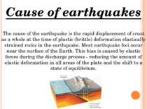 Cause of earthquakes The cause of the earthquake is the rapid displacement of...