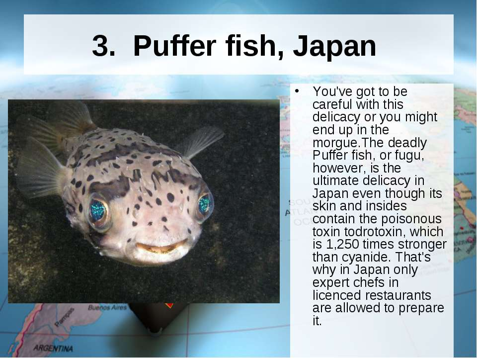 3.  Puffer fish, Japan You've got to be careful with this delicacy or you mig...