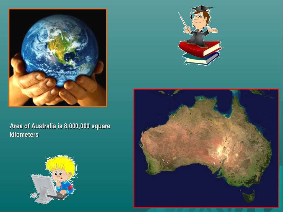 Area of Australia is 8,000,000 square kilometers