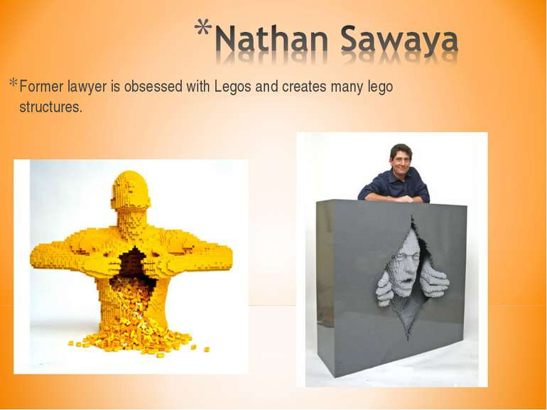 Former lawyer is obsessed with Legos and creates many lego structures.