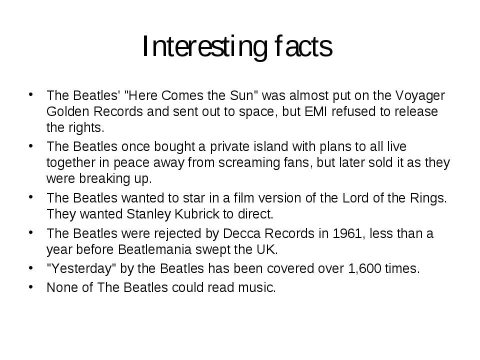 "Interesting facts The Beatles' ""Here Comes the Sun"" was almost put on the Voy..."