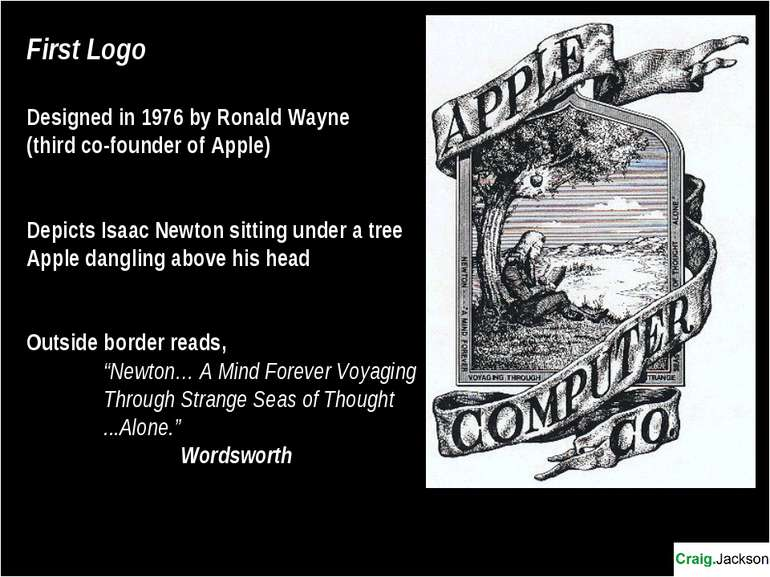 First Logo Designed in 1976 by Ronald Wayne (third co-founder of Apple) Depic...