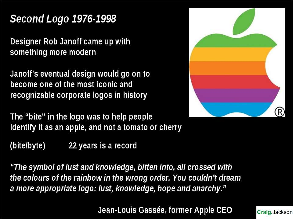 Second Logo 1976-1998 Designer Rob Janoff came up with something more modern ...