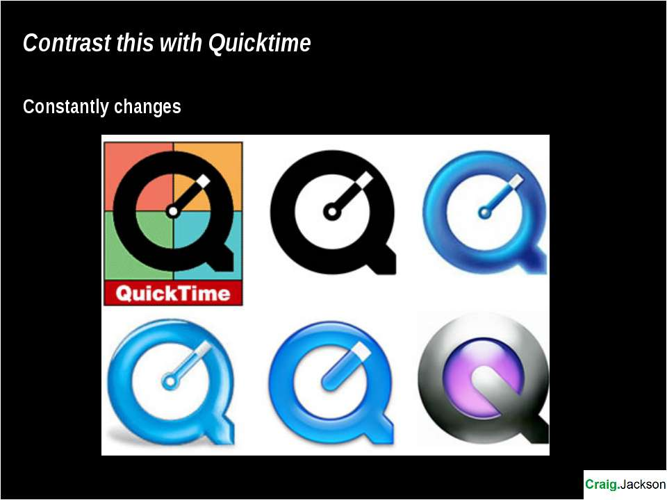 Contrast this with Quicktime Constantly changes