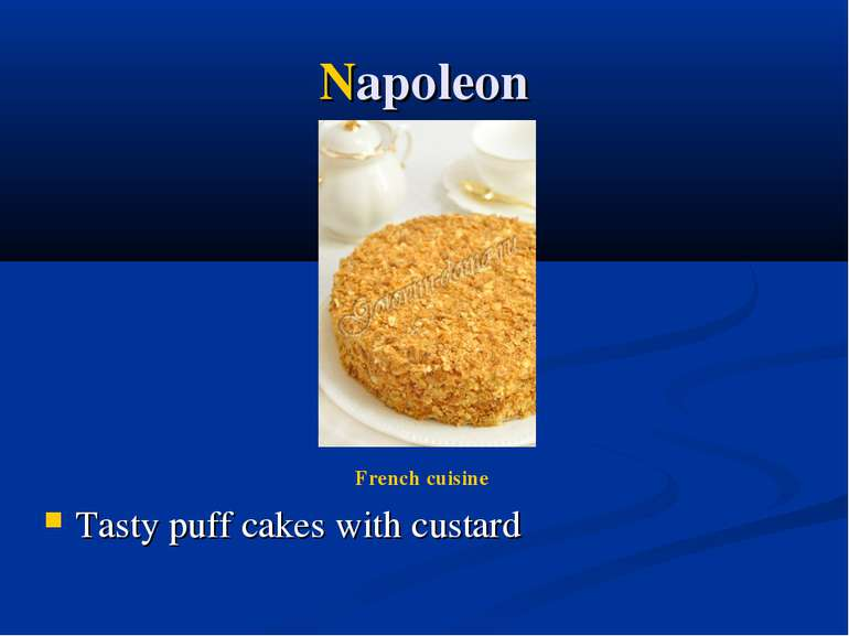 Napoleon Tasty puff cakes with custard French cuisine