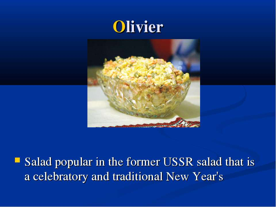 Olivier Salad popular in the former USSR salad that is a celebratory and trad...