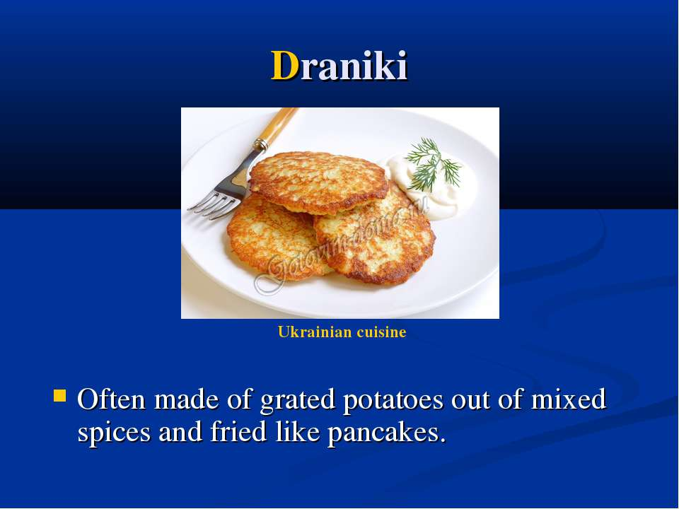 Draniki Often made of grated potatoes out of mixed spices and fried like panc...