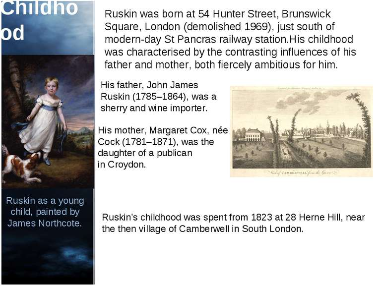 Childhood Ruskin was born at 54 Hunter Street, Brunswick Square, London (demo...