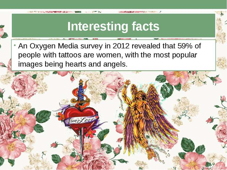 Interesting facts An Oxygen Media survey in 2012 revealed that 59% of people ...