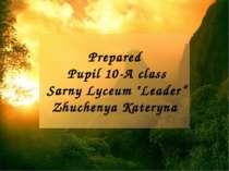 "Prepared Pupil 10-A class Sarny Lyceum ""Leader"" Zhuchenya Kateryna"