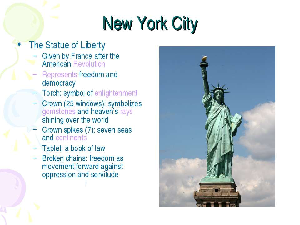 New York City The Statue of Liberty Given by France after the American Revolu...