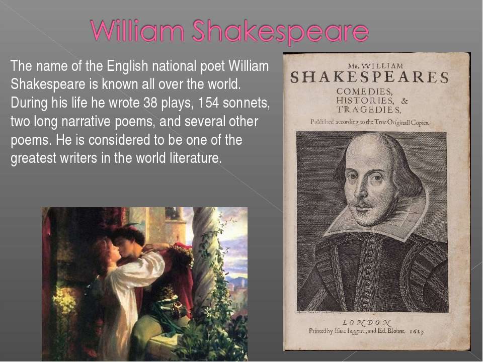 The name of the English national poet William Shakespeare is known all over t...