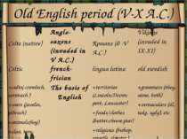 Old English period (V-X A.C.)