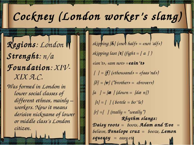 Cockney (London worker's slang) Regions: London Strenght: n/a Foundation: XIV...