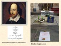 Five extant signatures of Shakespeare. Stratford-upon-Avon