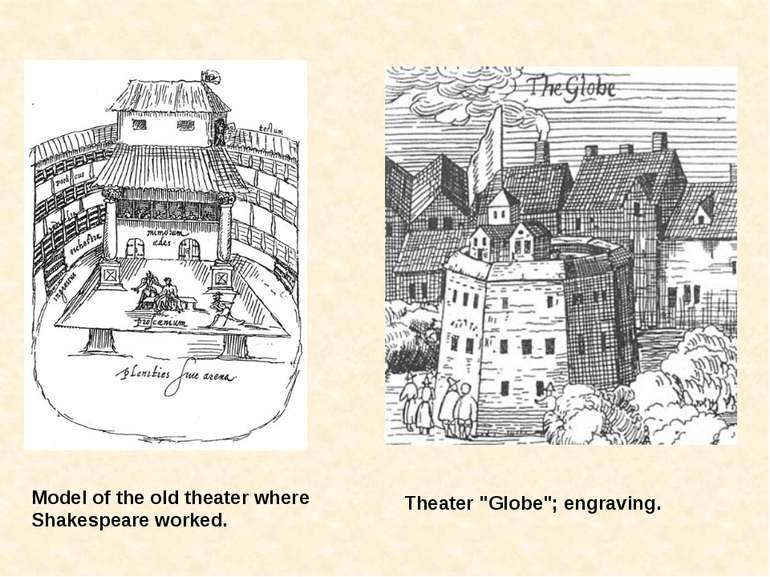 "Model of the old theater where Shakespeare worked. Theater ""Globe""; engraving."
