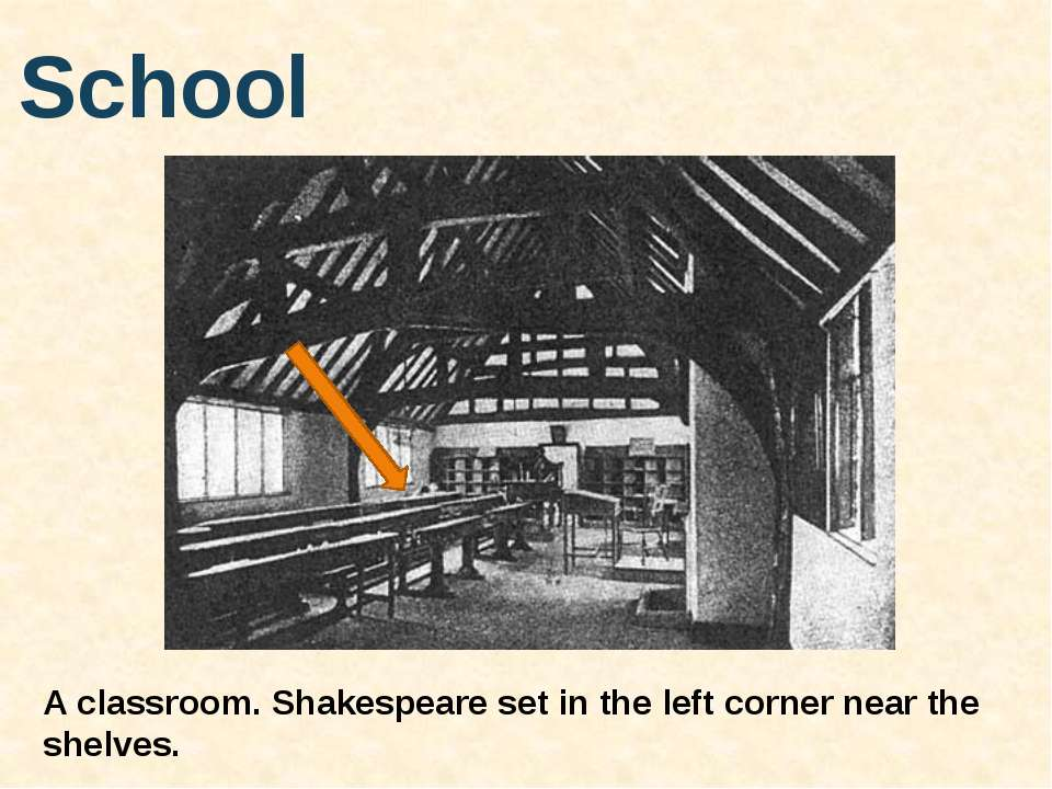 School A classroom. Shakespeare set in the left corner near the shelves.