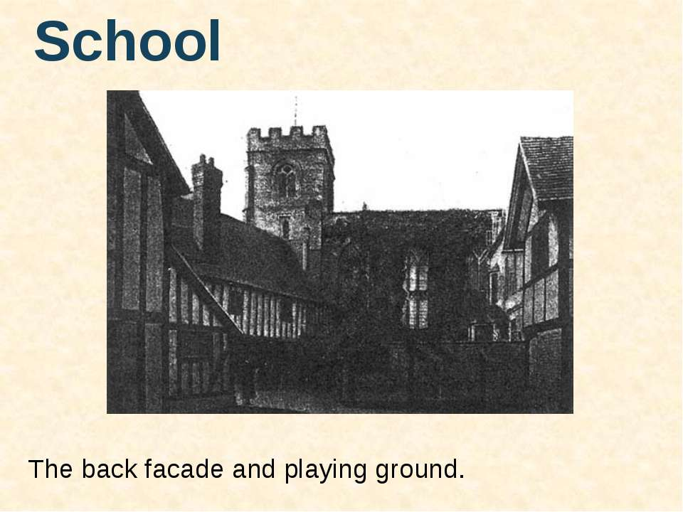The back facade and playing ground. School