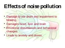 Effects of noise pollution Damage to ear drum and impairment to hearing. Dama...