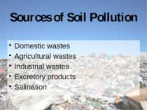 Sources of Soil Pollution Domestic wastes Agricultural wastes Industrial wast...
