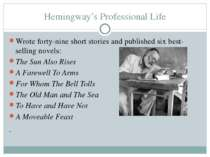 Hemingway's Professional Life Wrote forty-nine short stories and published si...