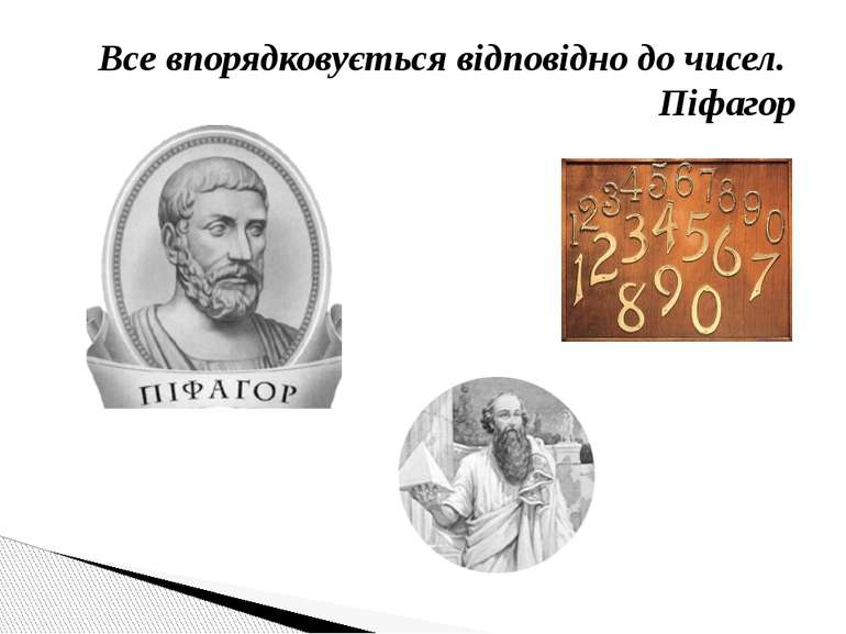 Все впорядковується відповідно до чисел. Піфагор