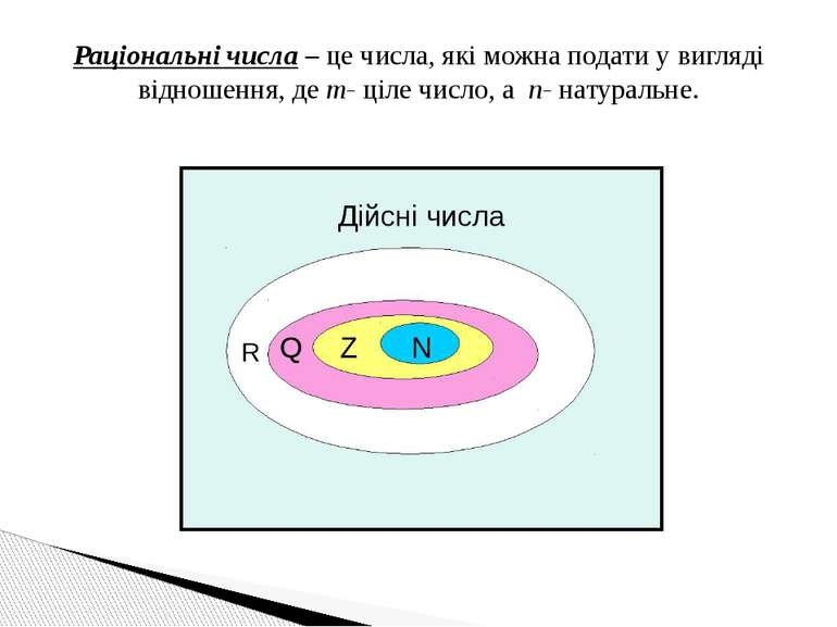 Раціональні числа – це числа, які можна подати у вигляді відношення, де m- ці...