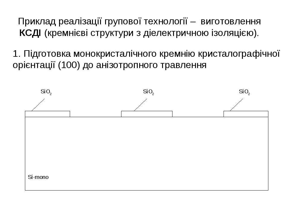 Приклад реалізації групової технології – виготовлення КСДІ (кремнієві структу...