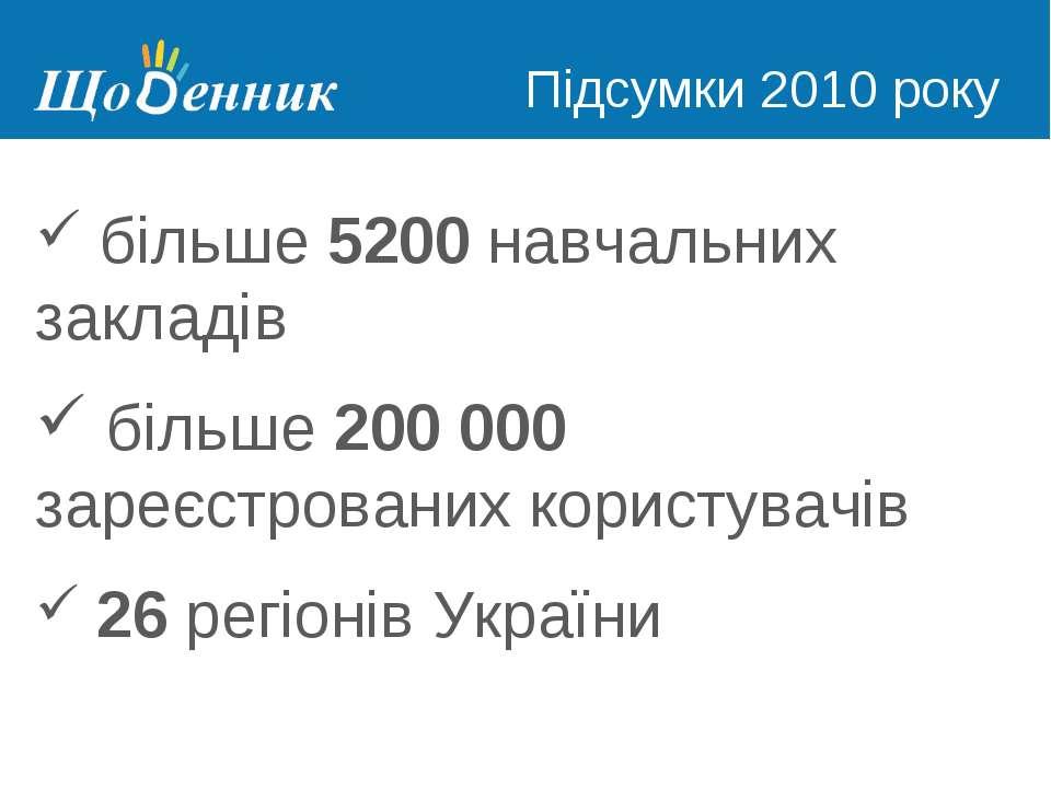 Страница администрирования Підсумки 2010 року більше 5200 навчальних закладів...