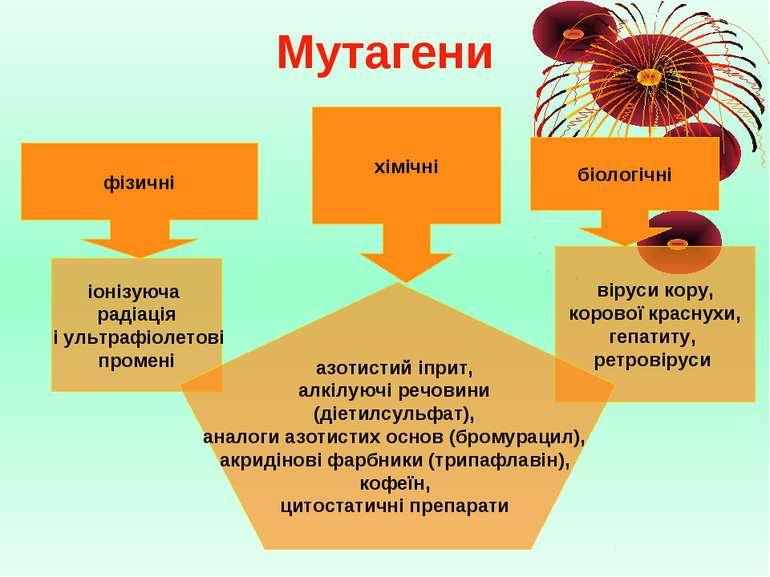 Мутагени фізичні хімічні біологічні іонізуюча радіація і ультрафіолетові пром...