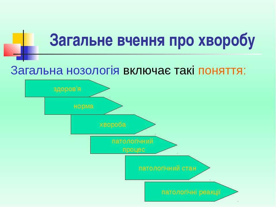 Загальне вчення про хворобу Загальна нозологія включає такі поняття: здоров'я...