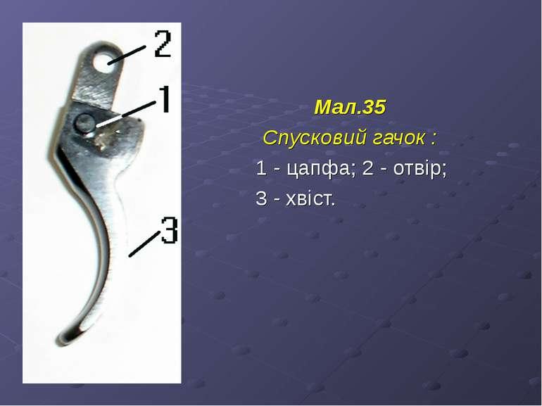 Мал.35 Спусковий гачок : 1 - цапфа; 2 - отвір; 3 - хвіст.