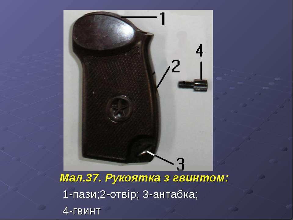 Мал.37. Рукоятка з гвинтом: 1-пази;2-отвір; 3-антабка; 4-гвинт