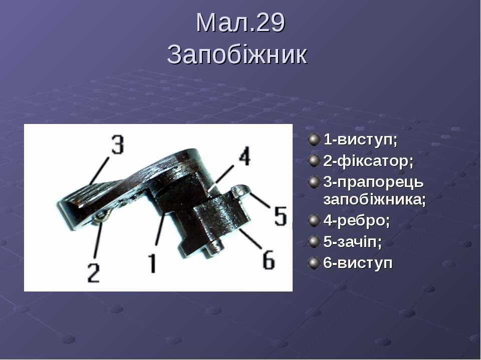 Мал.29 Запобіжник 1-виступ; 2-фіксатор; 3-прапорець запобіжника; 4-ребро; 5-з...
