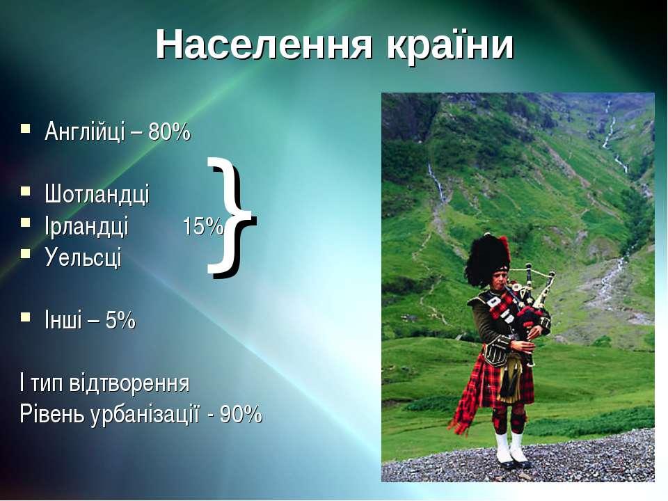 Населення країни Англійці – 80% Шотландці Ірландці 15% Уельсці Інші – 5% І ти...