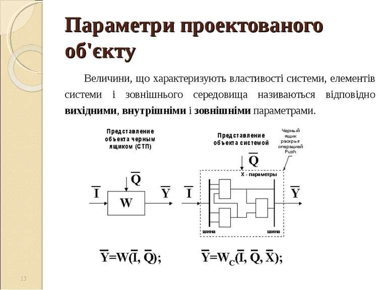 Параметри проектованого об'єкту Величини, що характеризують властивості систе...