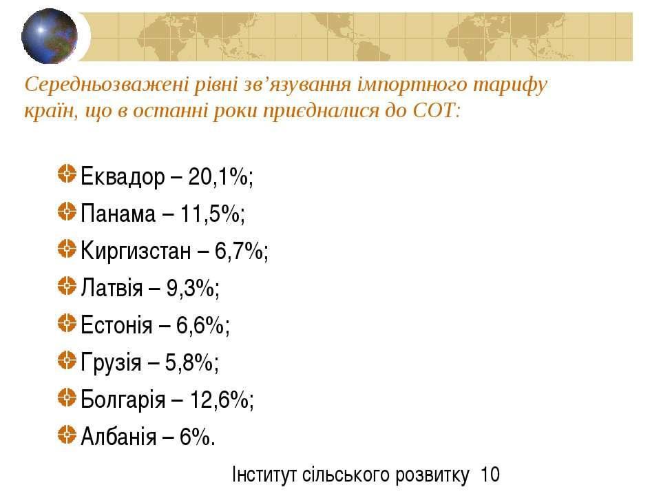 Середньозважені рівні зв'язування імпортного тарифу країн, що в останні роки ...