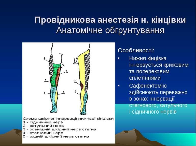 Провідникова анестезія н. кінцівки Анатомічне обгрунтування Особливості: Нижн...