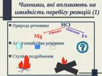 Чинники, які впливають на швидкість перебігу реакцій (1) Природа речовини Mg ...